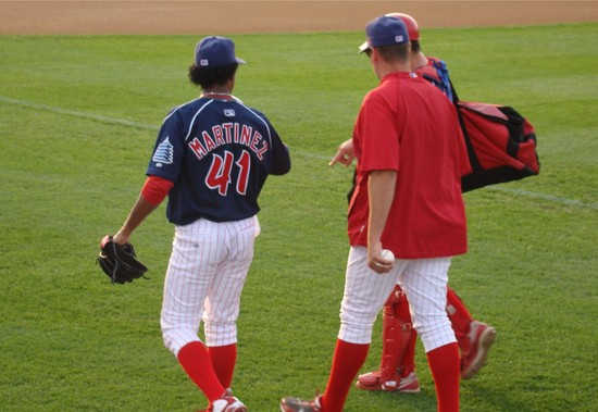4 - and warming up in the bullpen.JPG