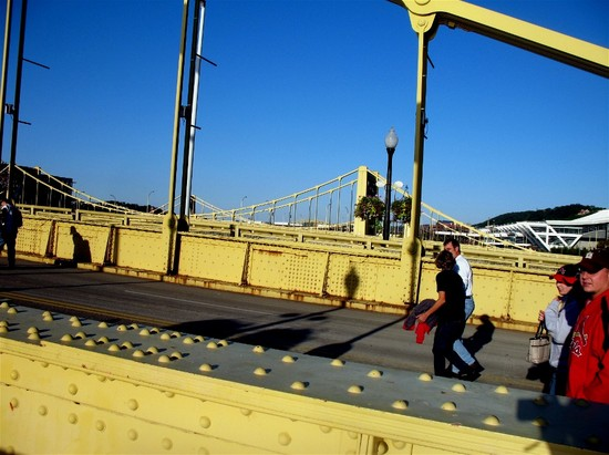 4 - walking Roberto Clemente Bridge.jpg