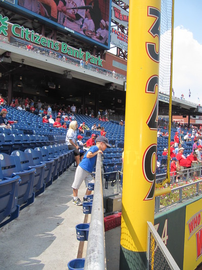 13 - checking out the foul pole.JPG