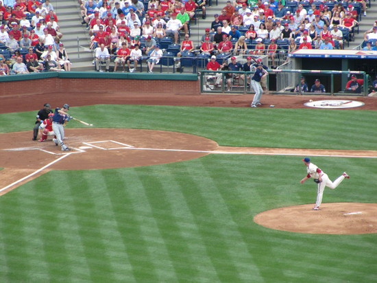 15 - Joe Mauer singles off Roy Halladay.JPG