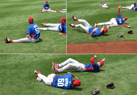 3 - Moyer and Halladay stretching.JPG