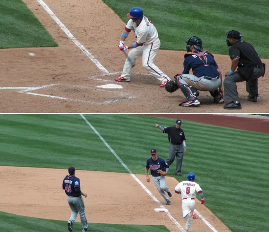 30 - Shane Victorino grounds out on a low pitch 6-20-10.JPG