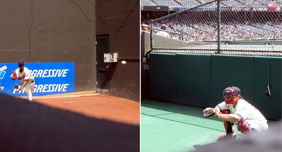 25 - Spying on the Indians bullpen.JPG