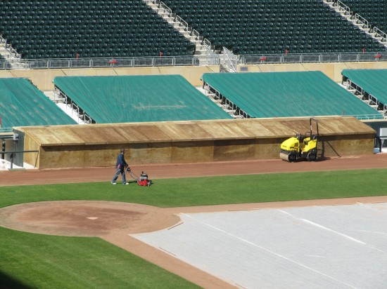 5 - Target Field visitors dugout covered in wood.JPG